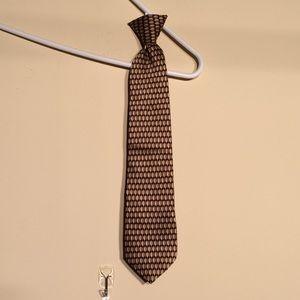 Boy's 100% Silk Clip-on tie. Golds/black